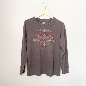 Roots Canada Embroidered Thermal Long Sleeve Top M